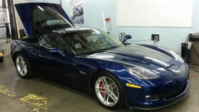Blue Corvette Z06 Window Tint for a Dallas Customer