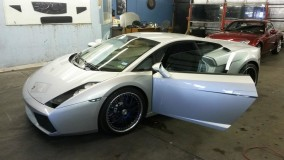 Silver Lamborghini Gallardo Window Tint for a Dallas Customer